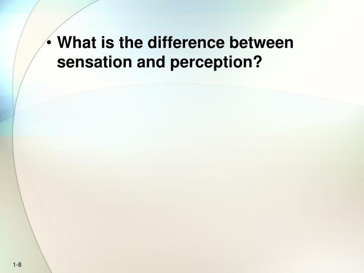 What is the difference between sensation and perception?