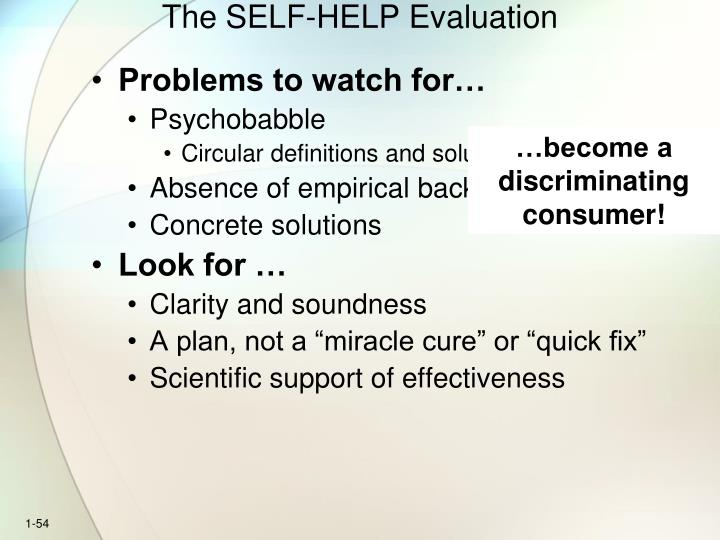 The SELF-HELP Evaluation