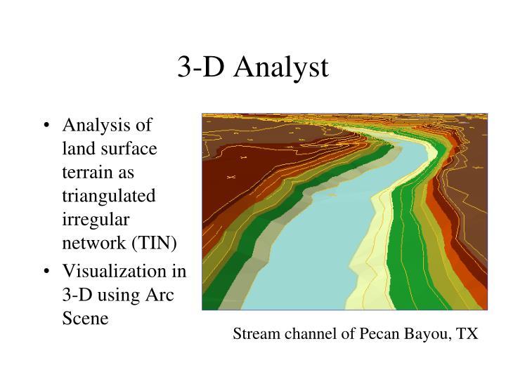 Analysis of land surface terrain as triangulated irregular network (TIN)