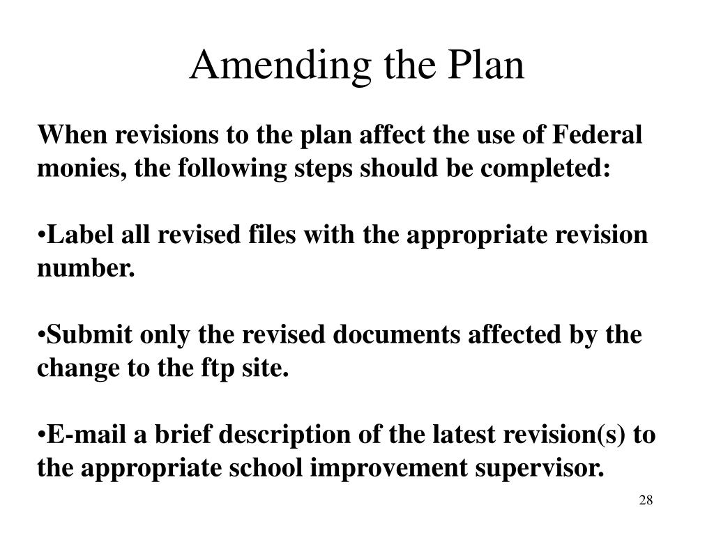 Amending the Plan