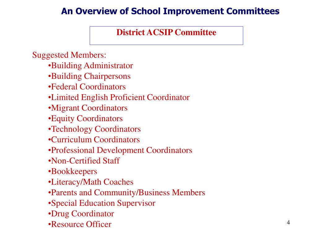 An Overview of School Improvement Committees