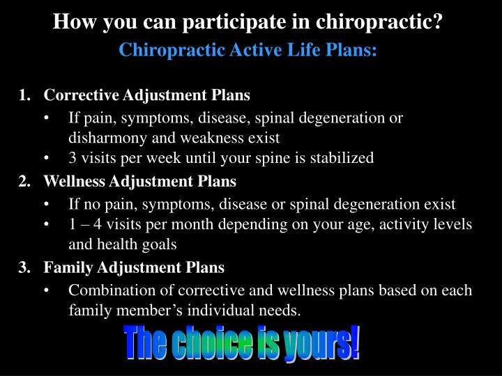 How you can participate in chiropractic?