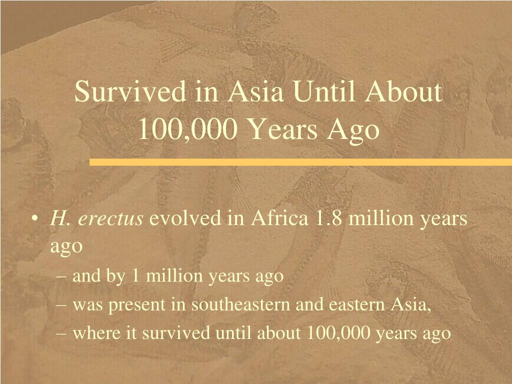 Survived in Asia Until About 100,000 Years Ago