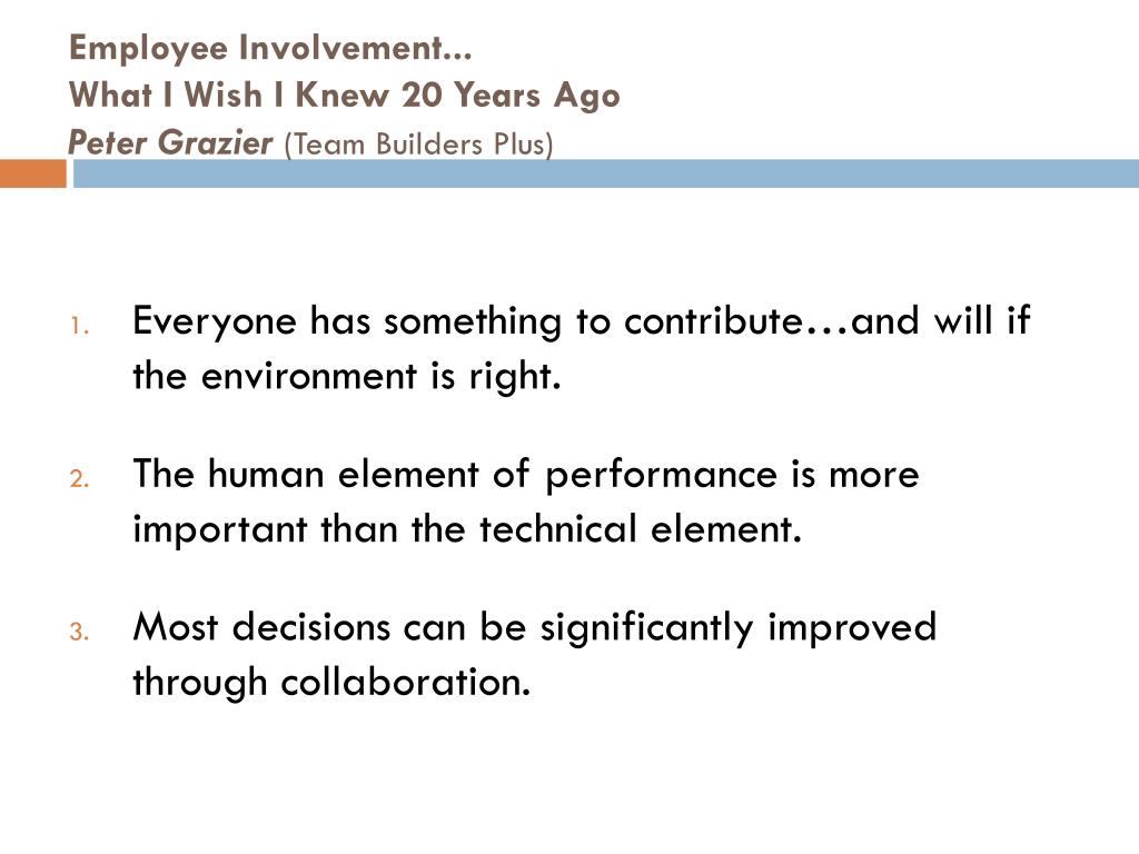 Employee Involvement...