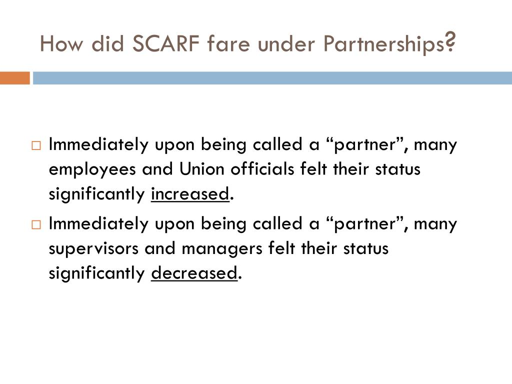 How did SCARF fare under Partnerships