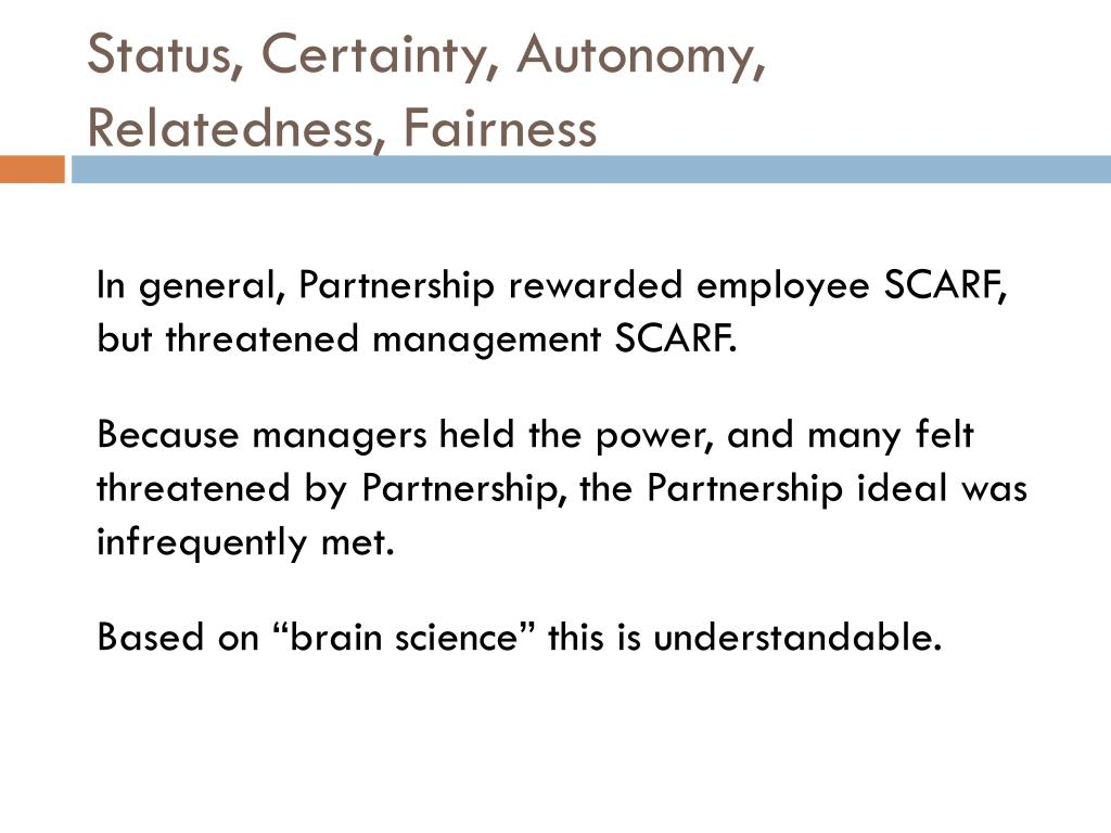 Status, Certainty, Autonomy, Relatedness, Fairness