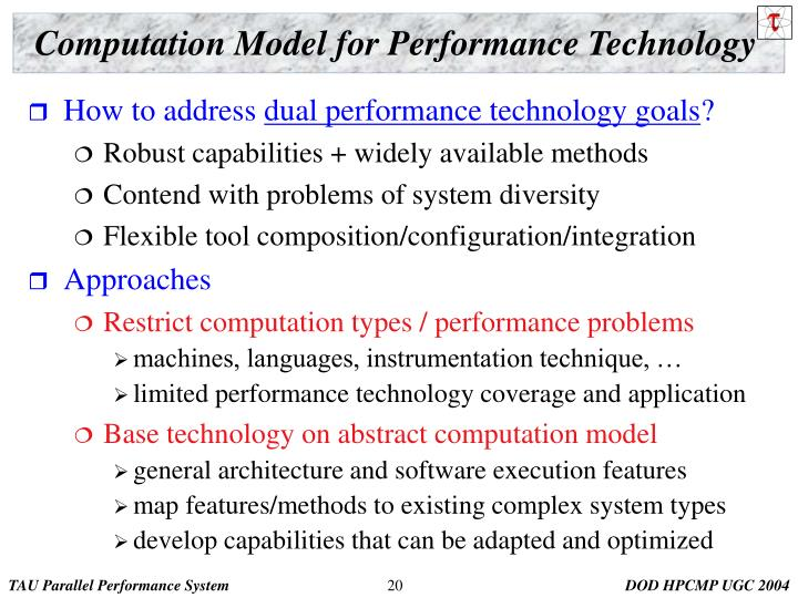 Computation Model for Performance Technology