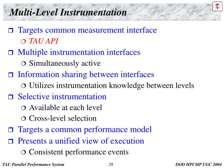 Multi-Level Instrumentation