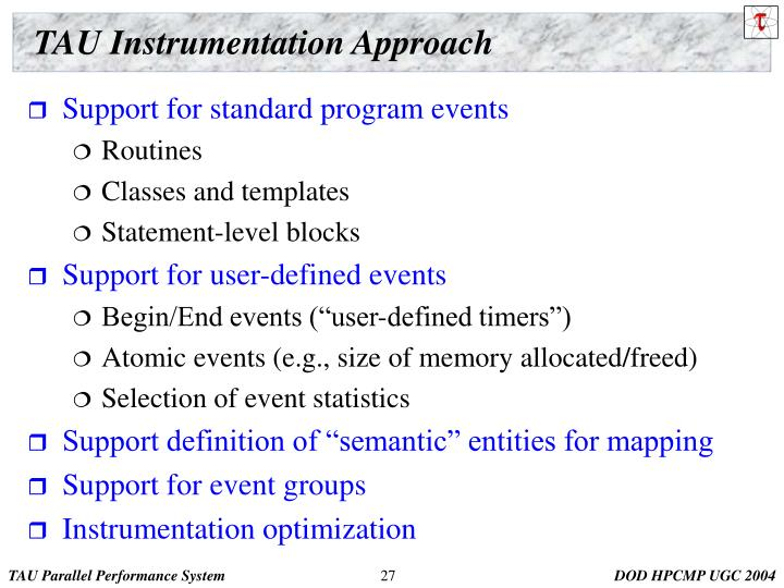 TAU Instrumentation Approach