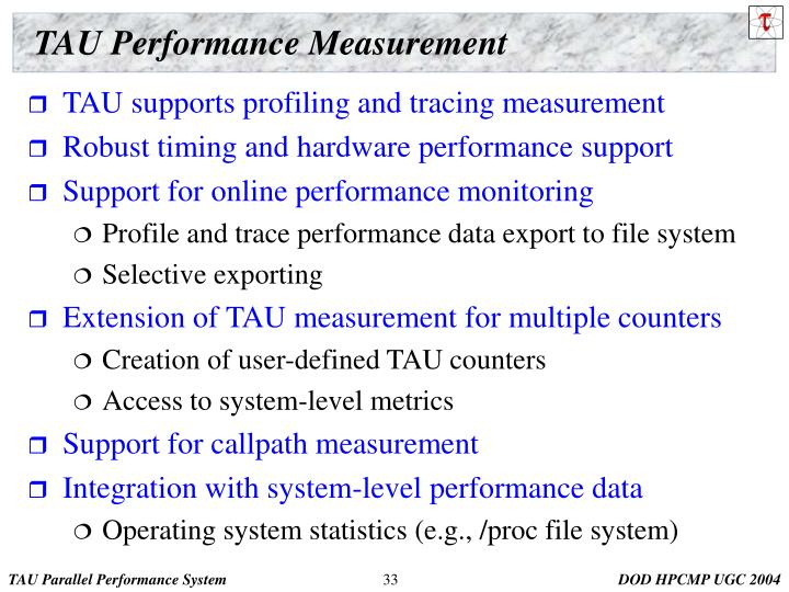 TAU Performance Measurement