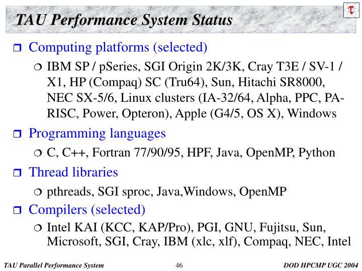 TAU Performance System Status