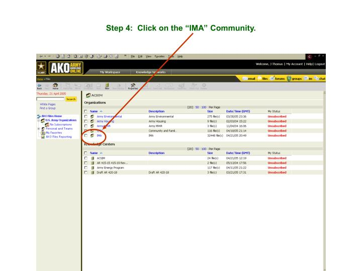 "Step 4:  Click on the ""IMA"" Community."