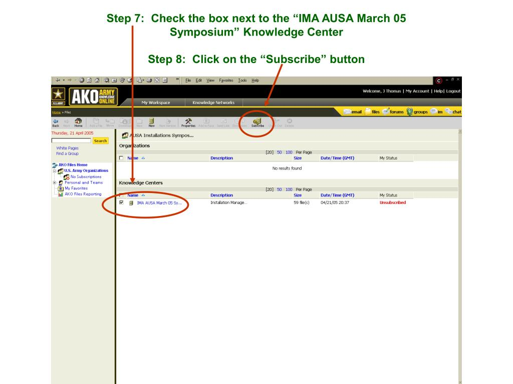 "Step 7:  Check the box next to the ""IMA AUSA March 05 Symposium"" Knowledge Center"
