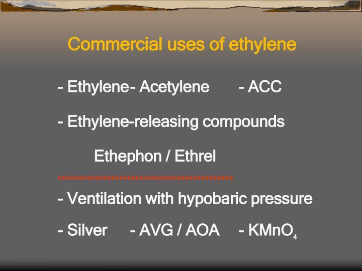 Commercial uses of ethylene