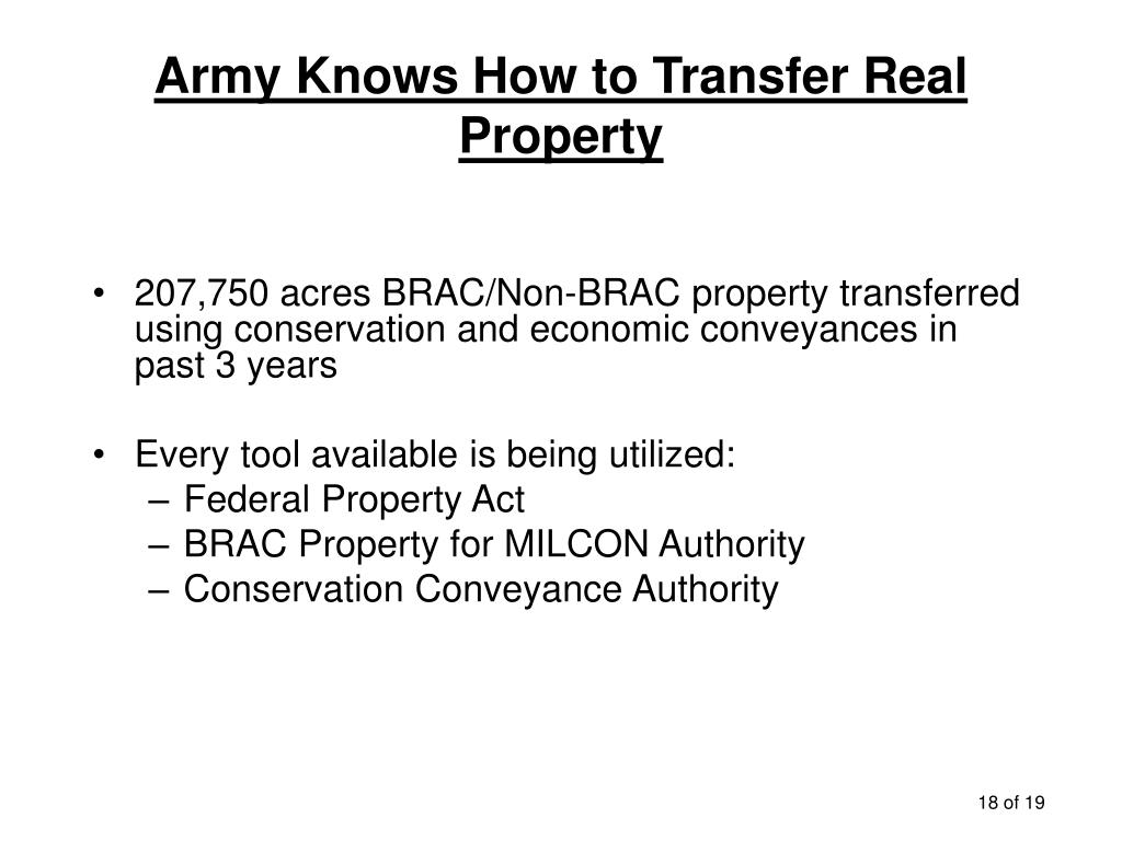 Army Knows How to Transfer Real Property