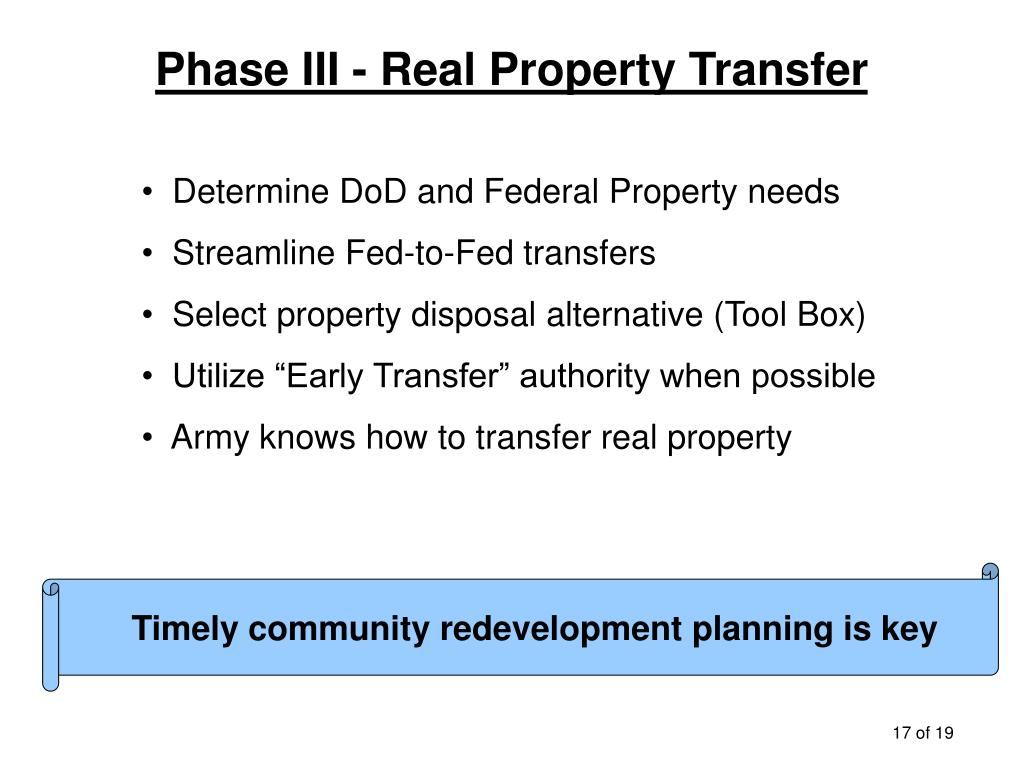 Phase III - Real Property Transfer