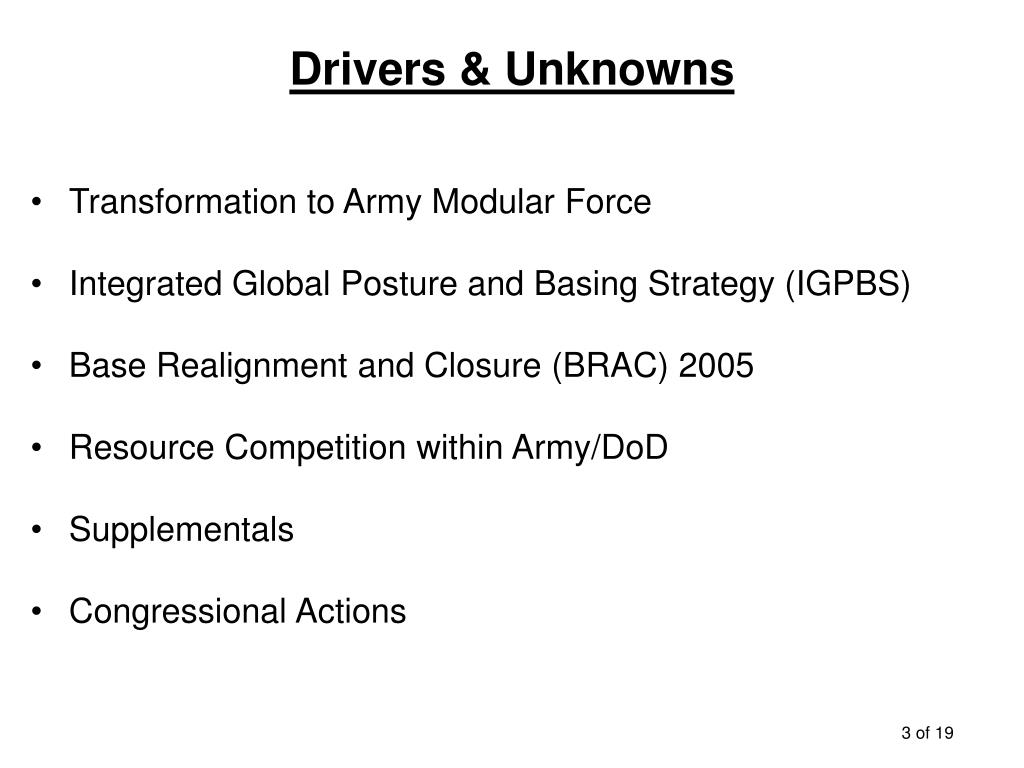 Drivers & Unknowns