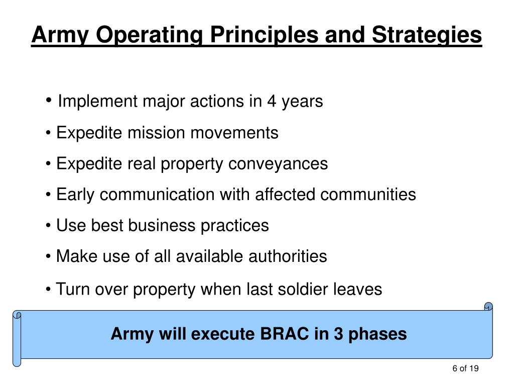 Army Operating Principles and Strategies
