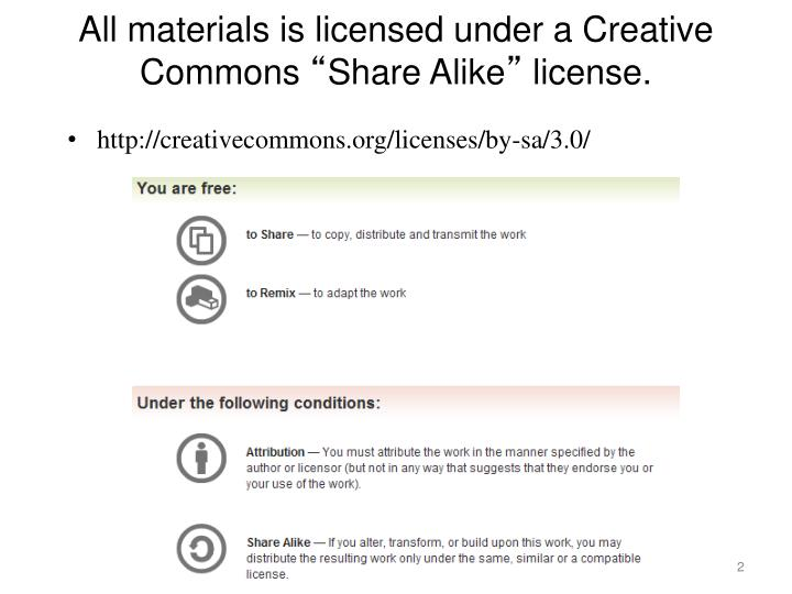All materials is licensed under a creative commons share alike license