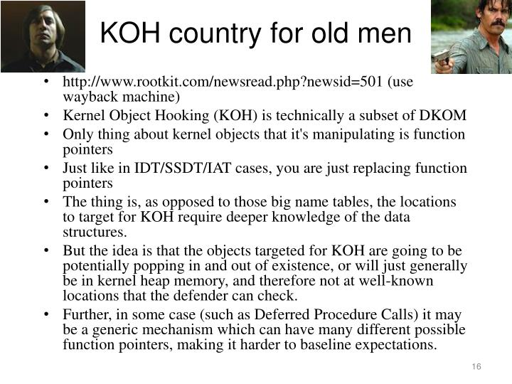 KOH country for old men