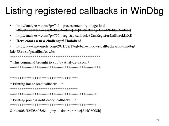 Listing registered callbacks in WinDbg