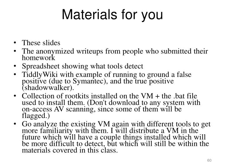 Materials for you