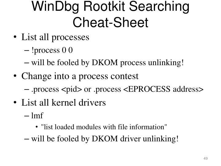 WinDbg Rootkit Searching