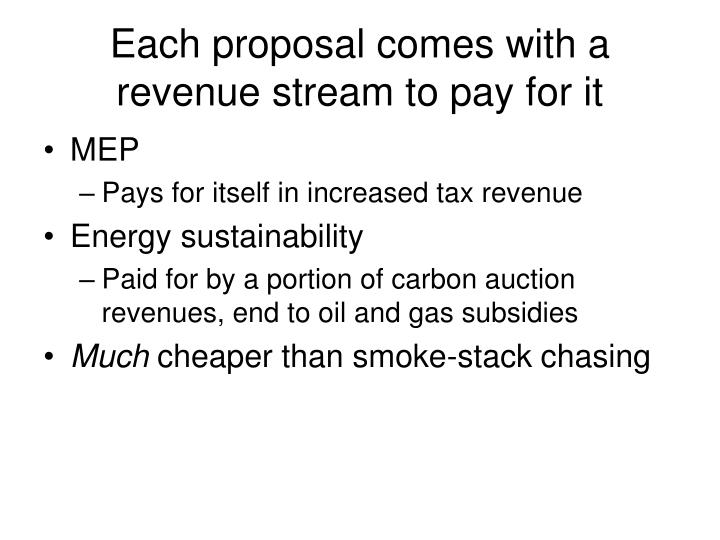 Each proposal comes with a revenue stream to pay for it