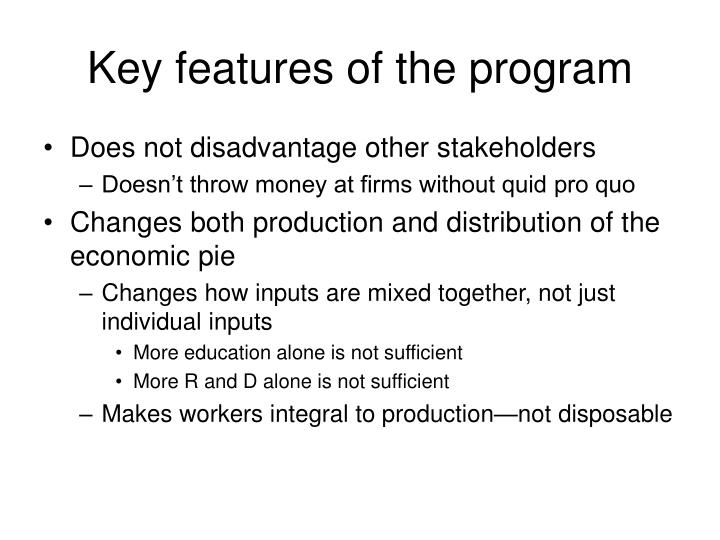 Key features of the program