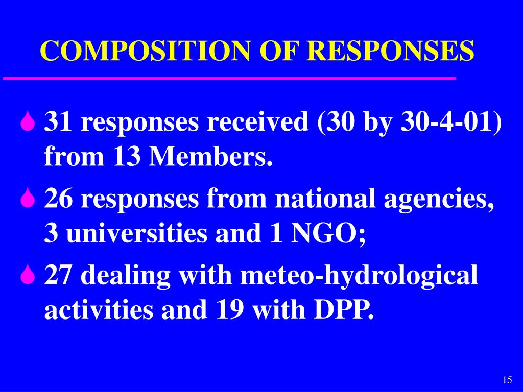 COMPOSITION OF RESPONSES