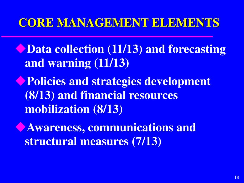 CORE MANAGEMENT ELEMENTS