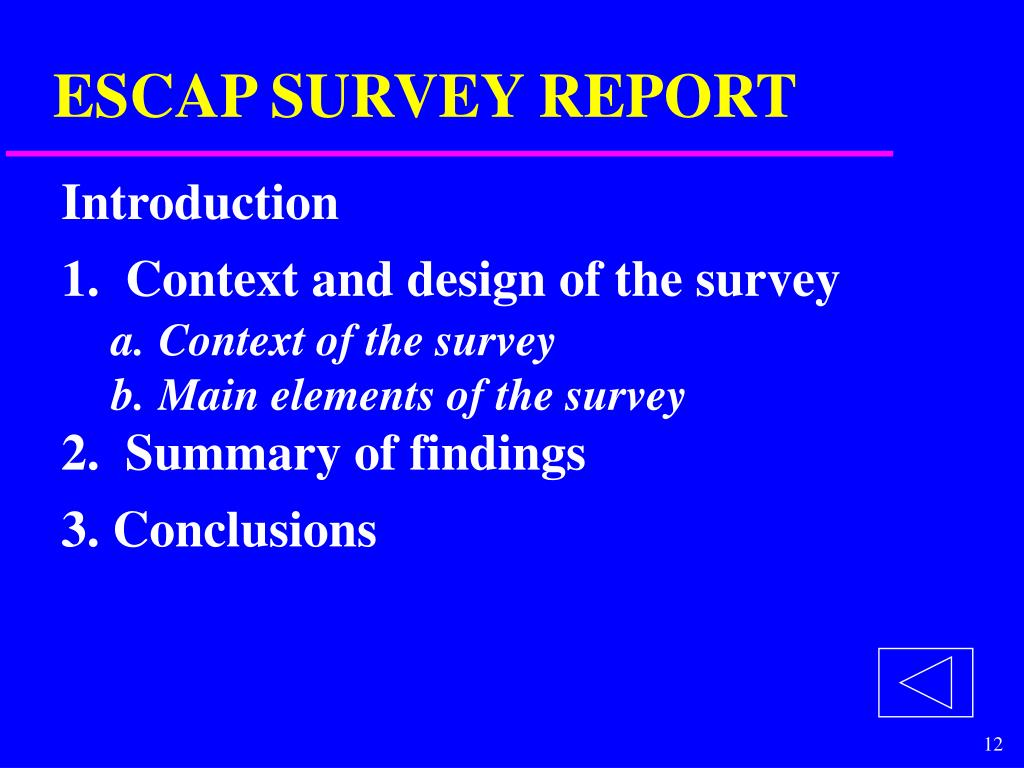 ESCAP SURVEY REPORT