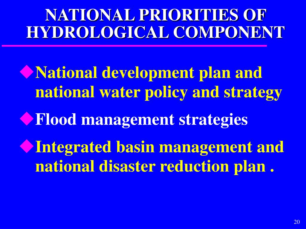 NATIONAL PRIORITIES OF HYDROLOGICAL COMPONENT