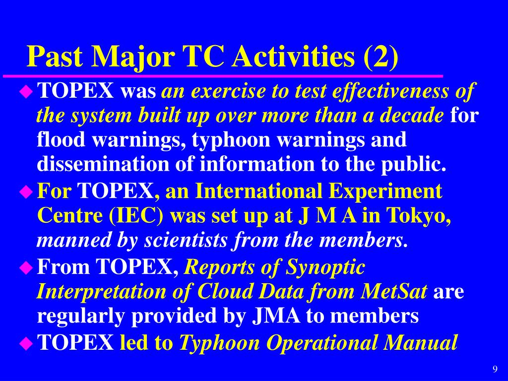 Past Major TC Activities (2)