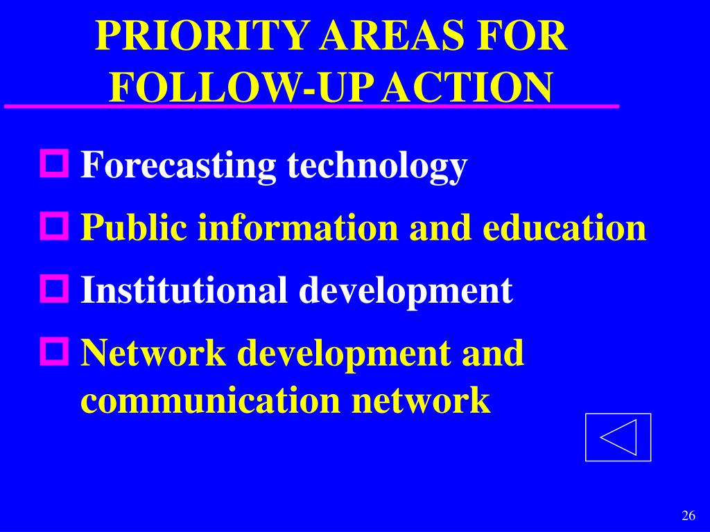 PRIORITY AREAS FOR FOLLOW-UP ACTION