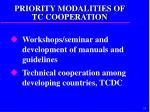 priority modalities of tc cooperation