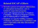 related escap s efforts