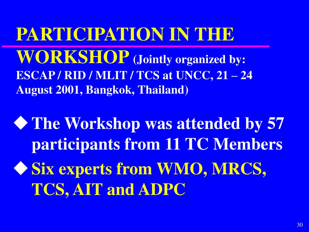 PARTICIPATION IN THE WORKSHOP