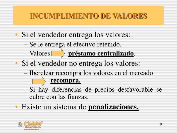 INCUMPLIMIENTO DE VALORES