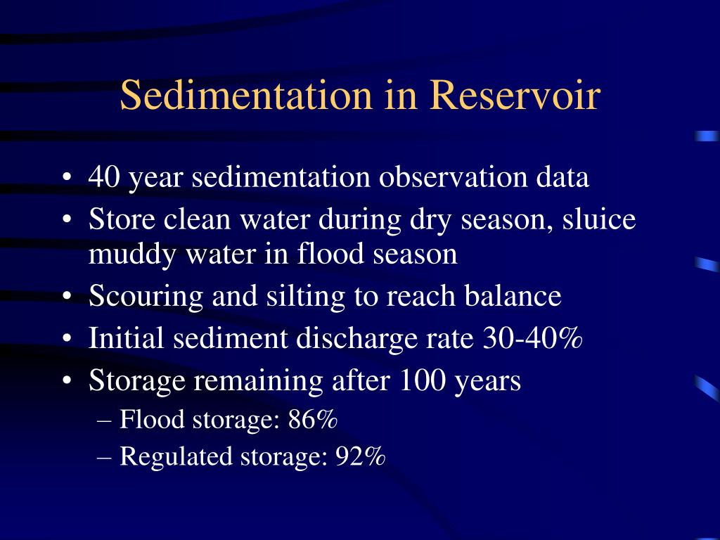 Sedimentation in Reservoir