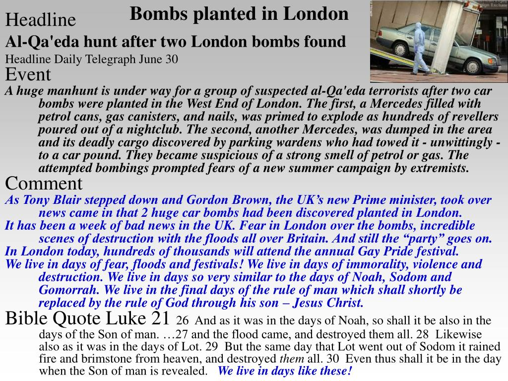 Bombs planted in London