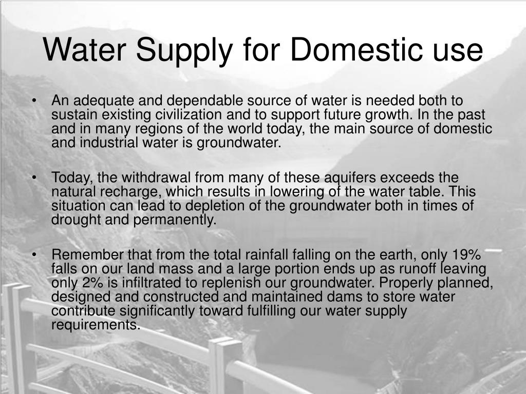 Water Supply for Domestic use