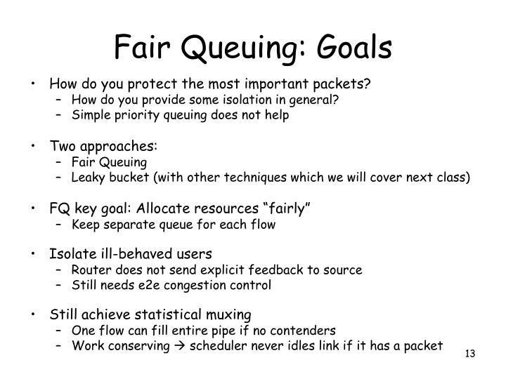 Fair Queuing: Goals