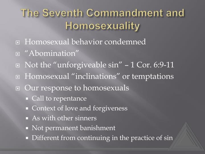 The Seventh Commandment and Homosexuality
