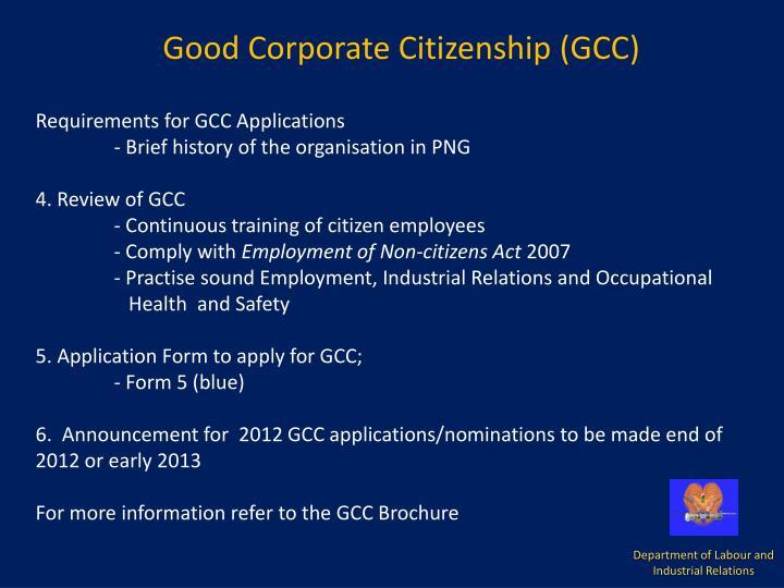 Good Corporate Citizenship (GCC)