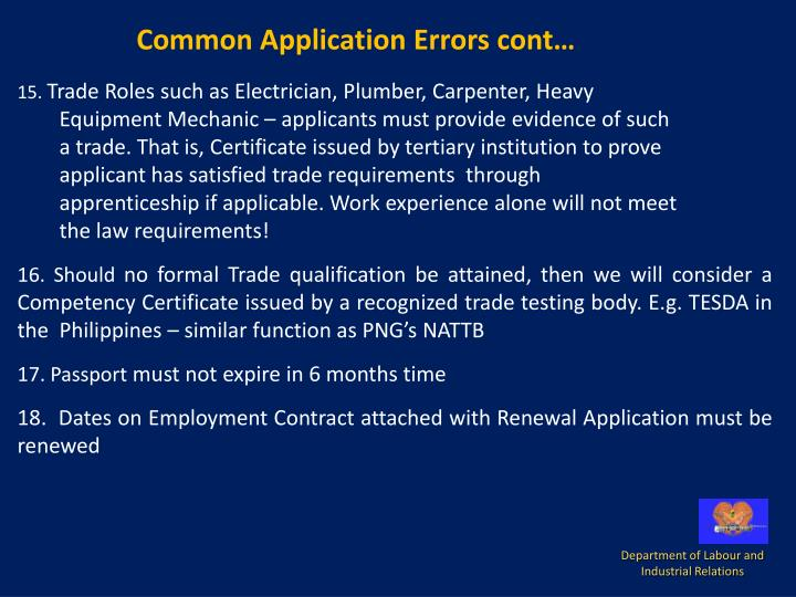 Common Application Errors cont…