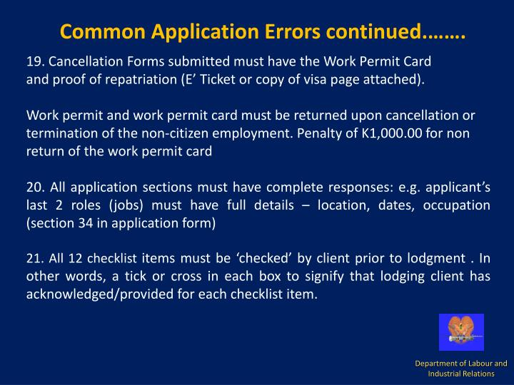 Common Application Errors continued.…….