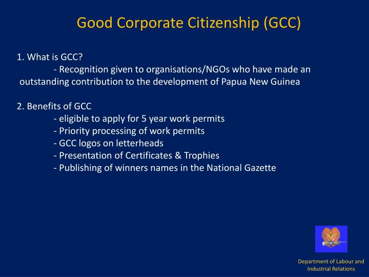 Good Corporate Citizenship (GCC)