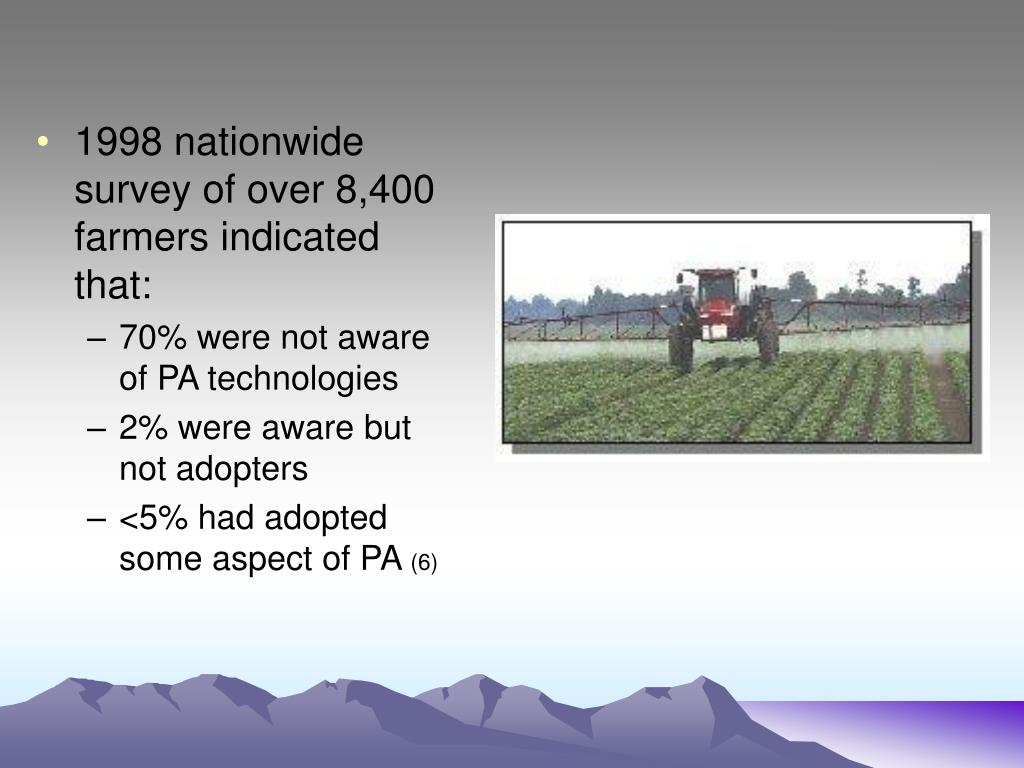 1998 nationwide survey of over 8,400 farmers indicated that: