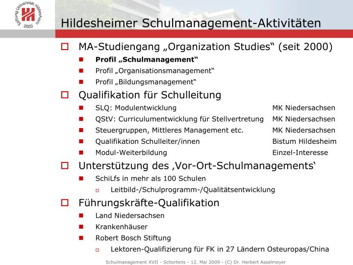 Hildesheimer schulmanagement aktivit ten